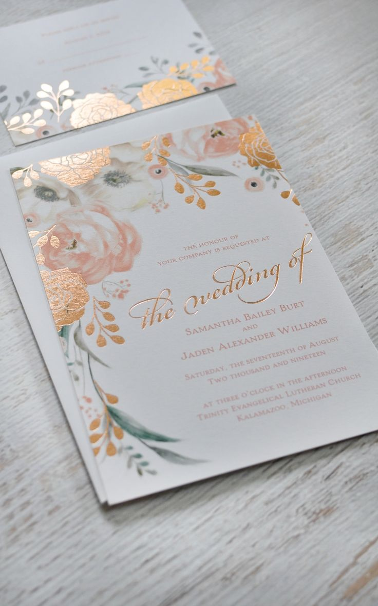 Sweet surprise letterpress and foil invitation luxe wedding