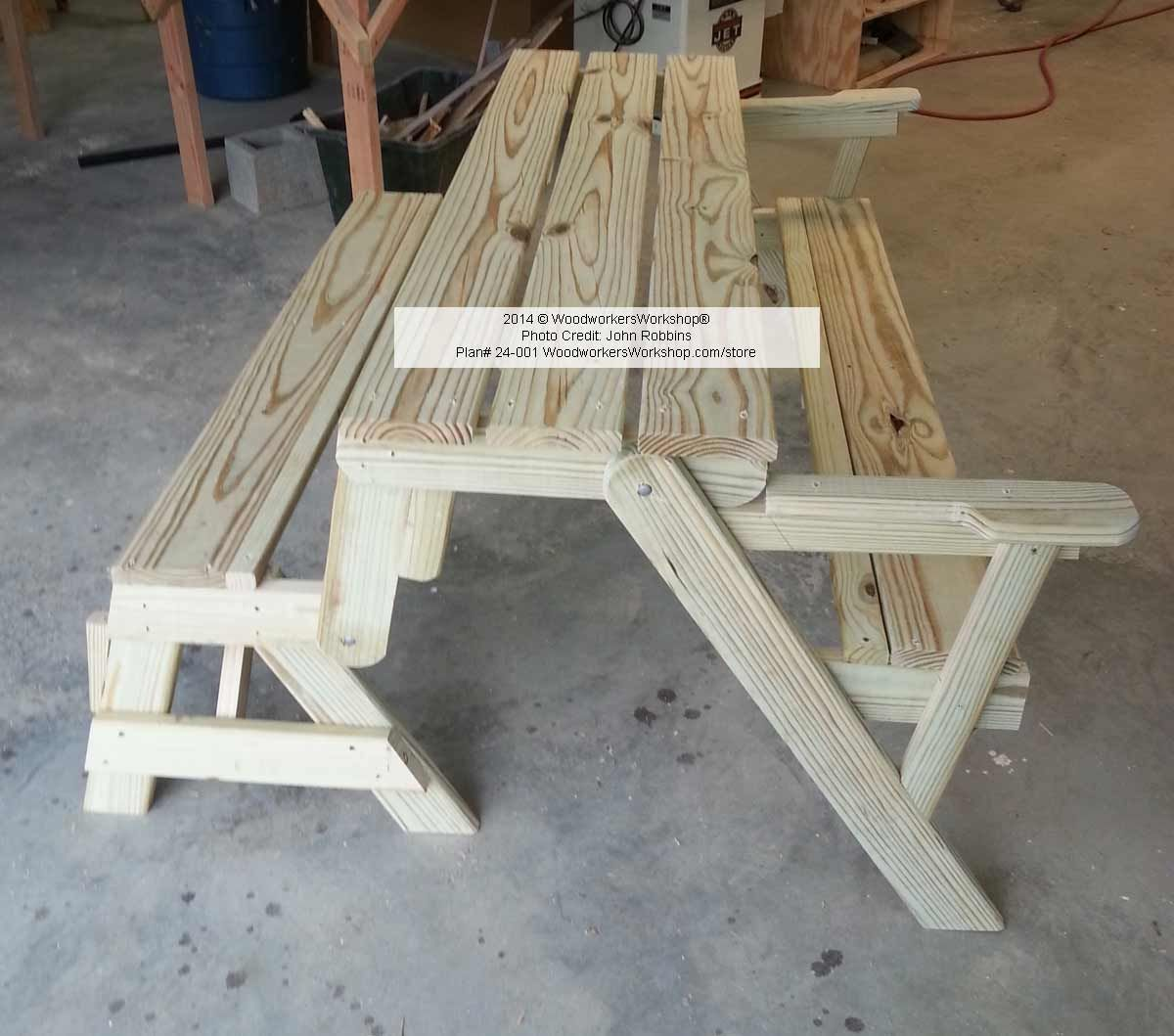 folding bench and picnic table combo pdf woodworking plan
