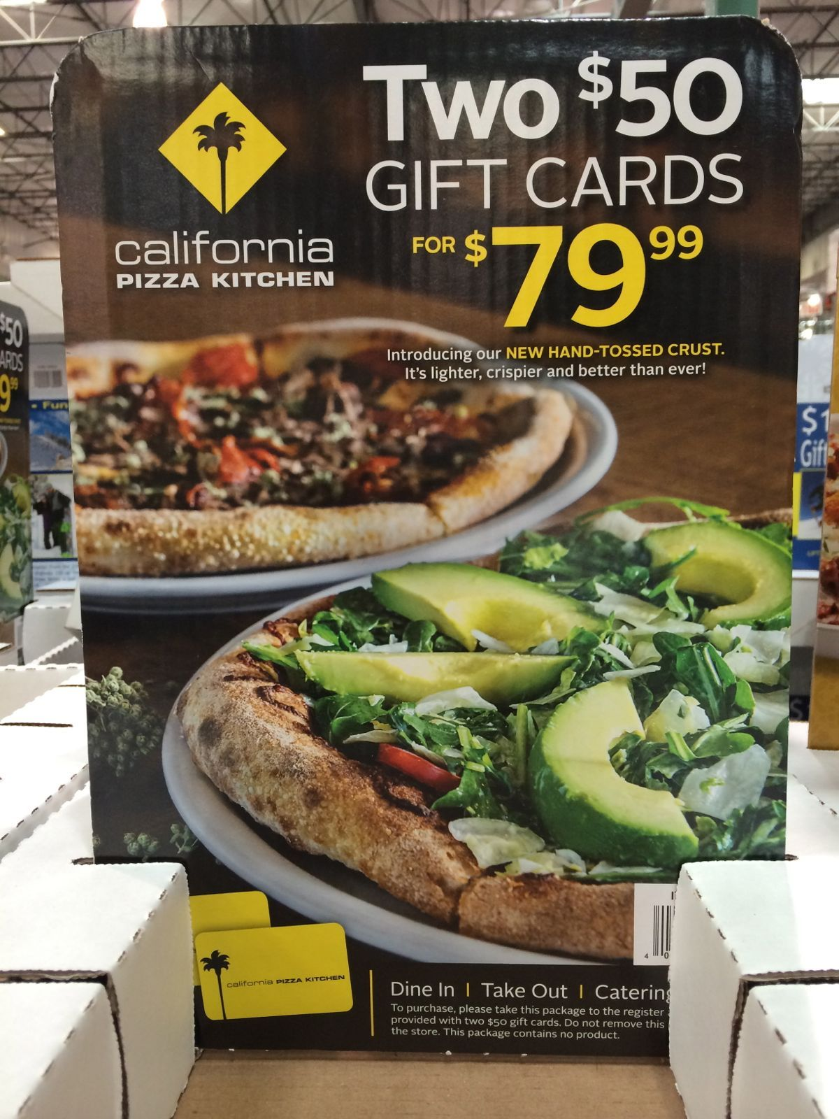 California Pizza Kitchen Gift Cards at Costco! 2 x $50 cards for ...