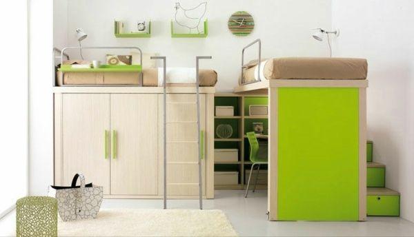 hochbett schreibtisch ideen-grünes zimmer | teenager zimmer design, Schlafzimmer