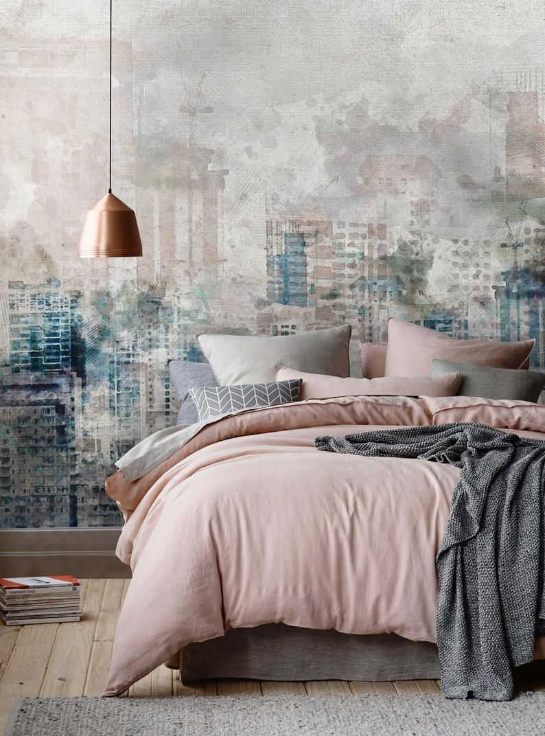 Watercolor Effect City Silhouette Wallpaper Popular City Wall Etsy In 2020 Luxurious Bedrooms Home Decor Trends Trending Decor