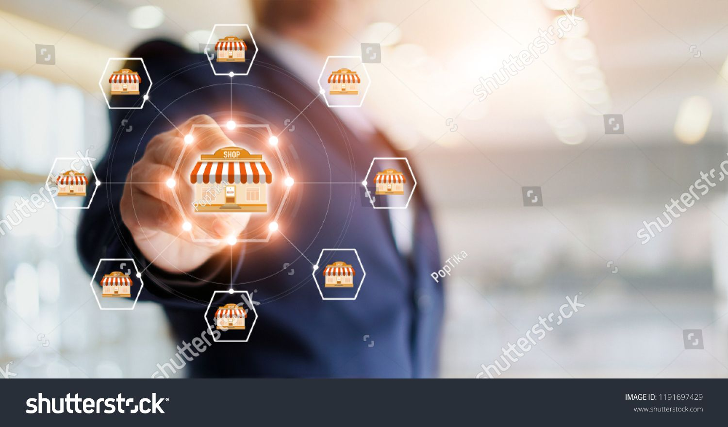 Rbusinessman Hand Touching Icon Global Network Connection On Franchise Marketing System Branch Of Marke Franchise Marketing Businessman Hand Marketing System