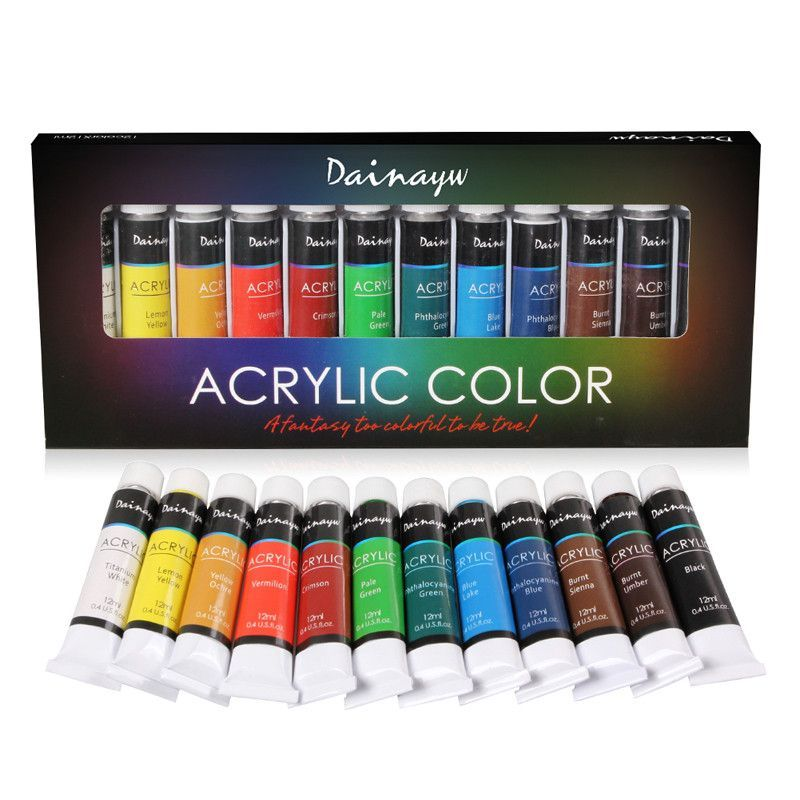Dainayw Waterproof 12 Colors 12ml Tube Acrylic Paint Set