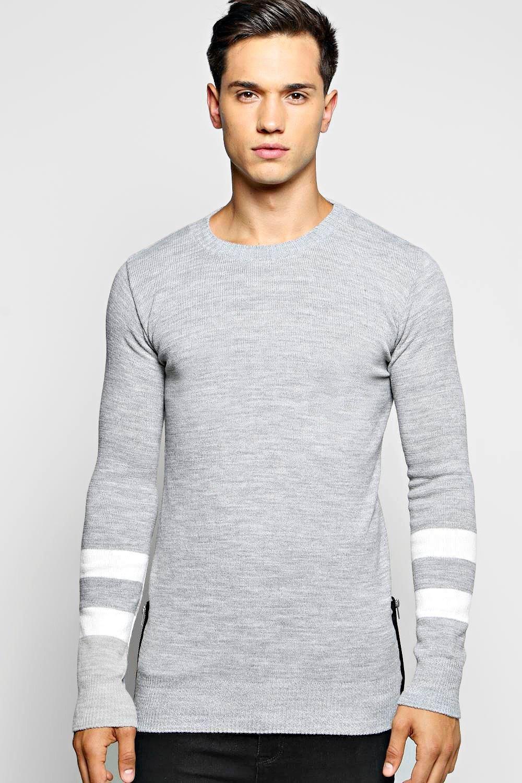 9007dab6c5 Longline Striped Sleeved Jumper With Side Zips | Fashion ideas | Men ...