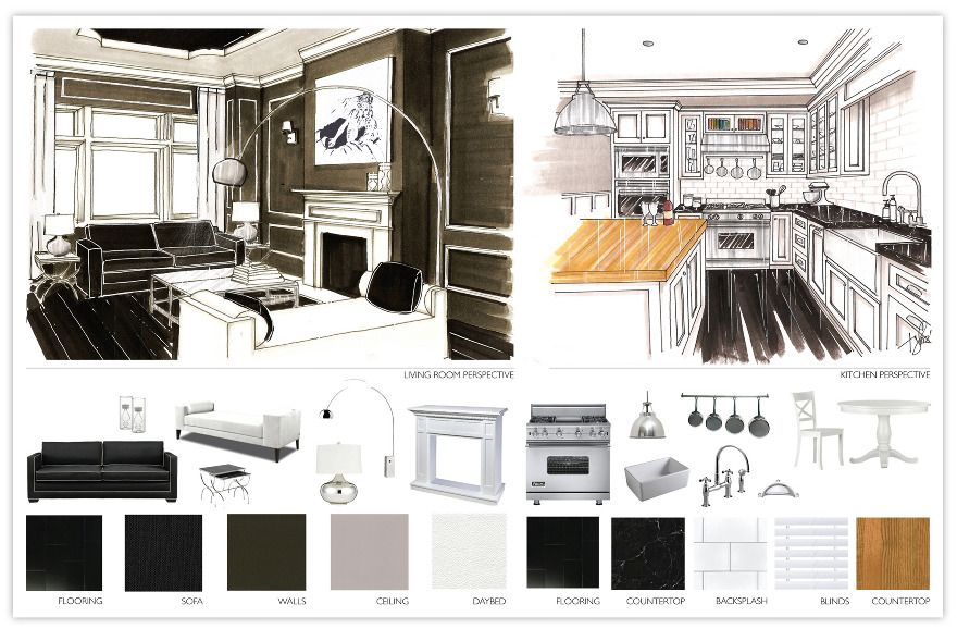 Great example of renderings and colors boards this is for Interior design studium