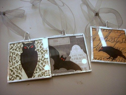 Halloween Crafts - Martha Stewart Papers and Memory Glass Ornaments - martha stewart halloween ideas