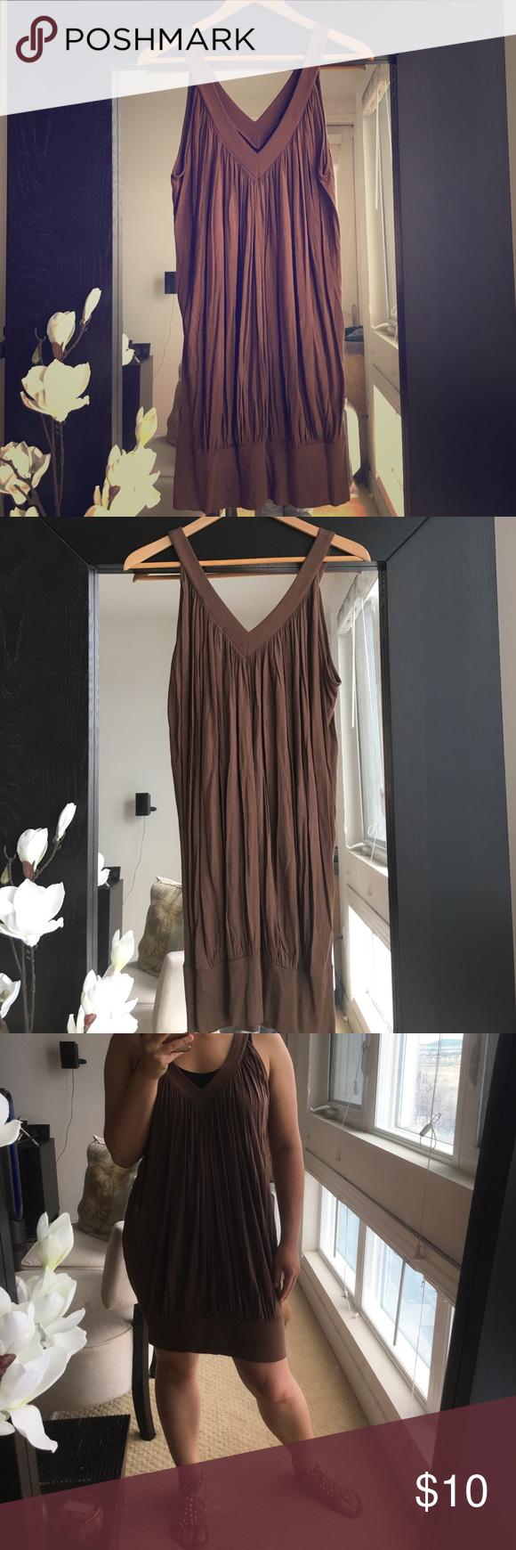 BCBGMAXAZRIA Banded Dress Tank banded bottom dress with pleating. Good condition. BCBGMaxAzria Dresses Mini
