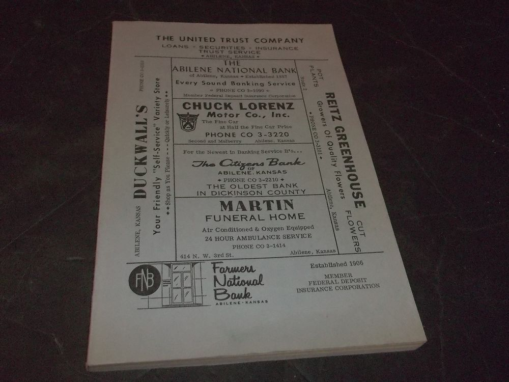 Vintage Abilene Kansas Business phone book City Directory 1962 - business phone book