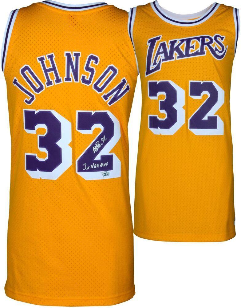 1887162b5367 Magic Johnson Lakers Signed Gold M N Swingman Jrsy w