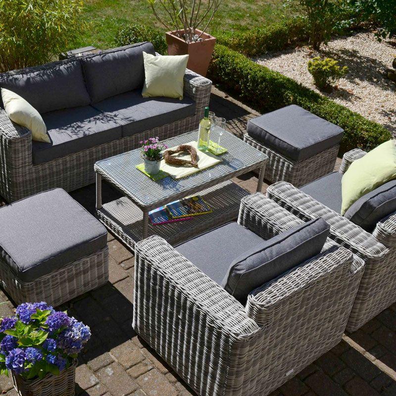 Exklusive Loungegruppe Provence Mixed Grau Polster Mittelgrau Sofa 2 Sessel 2 Hocker Und Tisch Lounge Garnitur Lounge Gartenmobel