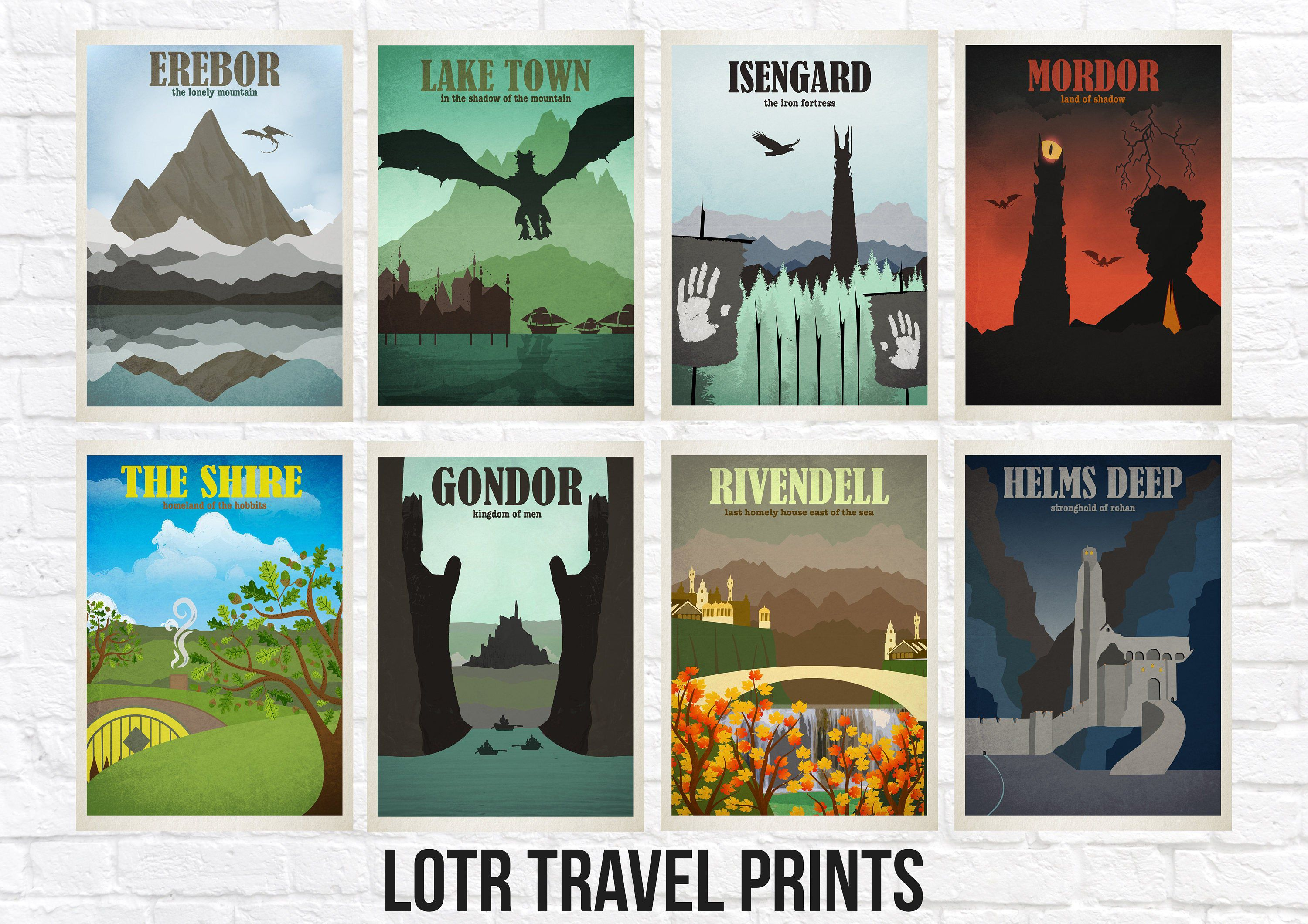 Lord of the Rings Travel Print Sets Location Style