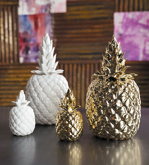 White & Gold Pineapple Home Accent Gift Idea