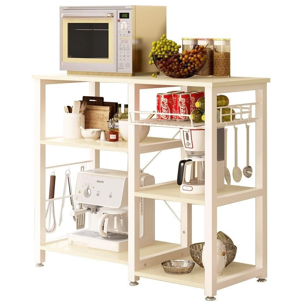 Beige Stainless Steel Kitchen Bakers Rack Utility Table with Wood ...