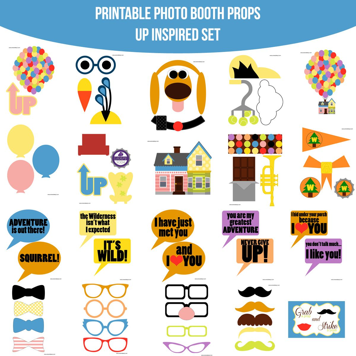 Instant Download Up Disney Inspired Printable Photo Booth Prop Set
