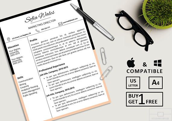 Professional Resume Template Word Resume Template CV Template - references on a resume template