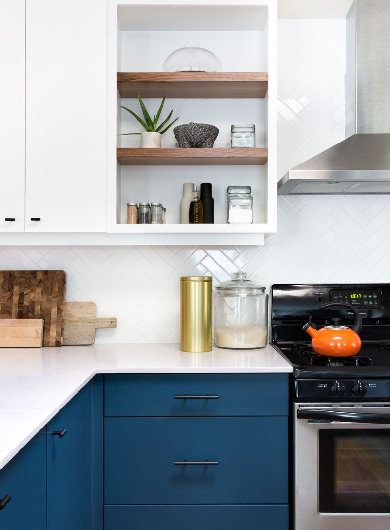 This Home Received An Updated Kitchen With Blue Cabinets And White Countertops Modern Kitchen Modern Kitchen Design Best Kitchen Cabinets