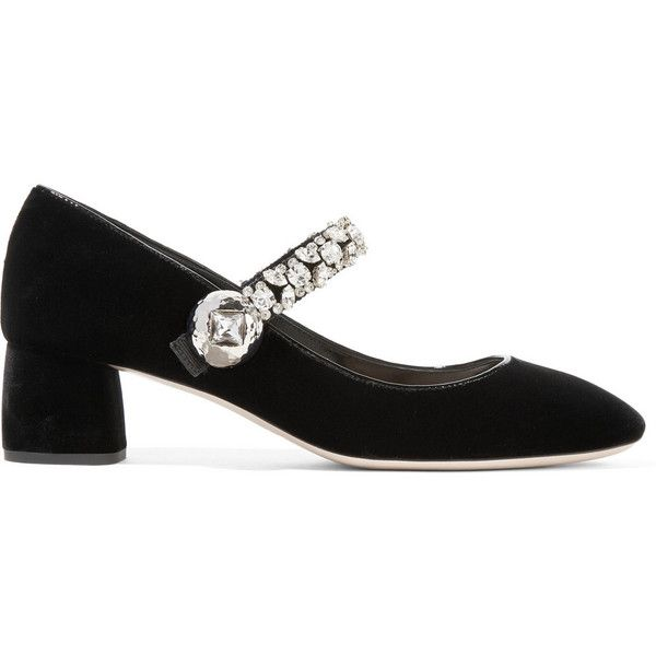 Miu Miu Crystal-embellished velvet Mary Jane pumps (£815) ❤ liked on Polyvore featuring shoes, pumps, black, black pumps, black slip on shoes, black shoes, mid-heel pumps and black mary janes