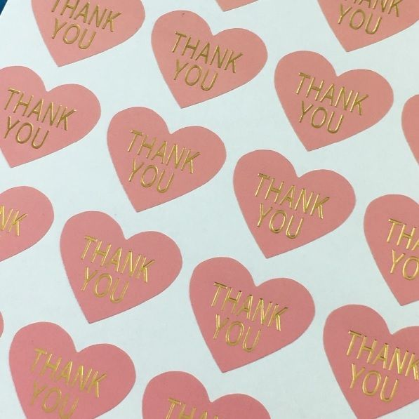 Heart Paper Labels /'THANK YOU/' Gift Food Craft Stickers Seals PINK /& GOLD