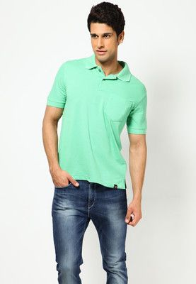 Solid Green Polo T Shirts  Price : Rs.437