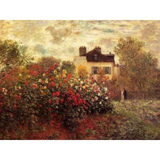 Handmade Oil Painting The Garden at Argenteuil Aka the Dahlias by Claude Monet