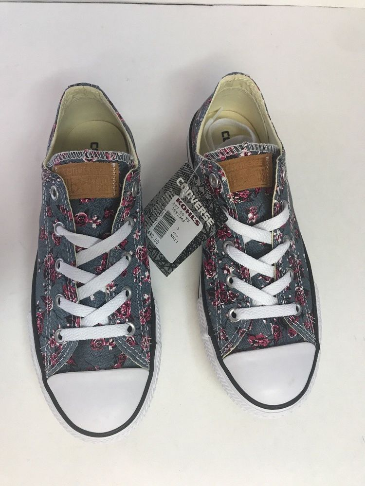 929027c8cea049 Converse All Star Youth Girls Sneakers Blue Denim Floral SIZE 3 ...