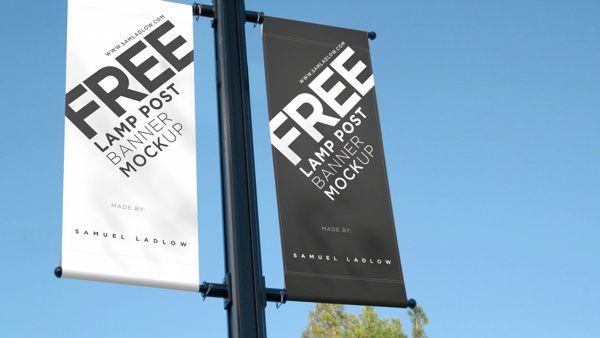 Free Lamp Post Banner Mockup Ad Advertising Banner Display Free Graphic Design Lamp Post Mocku Branding Mockups Mockup Free Psd Design Freebie