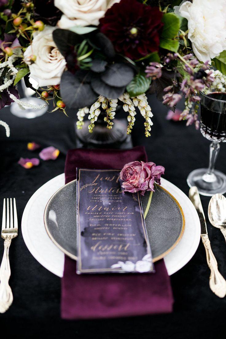 Moody Jewel-Toned Halloween Wedding Inspiration Shoot