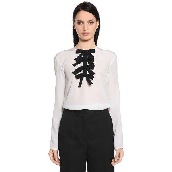c6aa890bf036c Rochas Women Silk Crepe De Chine Blouse W  Bows (13