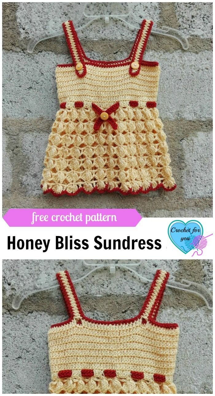 Honey Bliss Baby Sundress Free Crochet Pattern   Vestidos para bebes ...