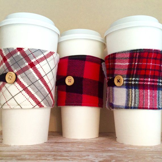 Coffee Cup Cozy, Plaid Mug Cozy, Coffee Cup Sleeve, Cup Cozy, Cup Sleeve, Reusable Coffee Sleeve - Flannel Plaid Cream, Buffalo Pink [46-48] #coffeecup