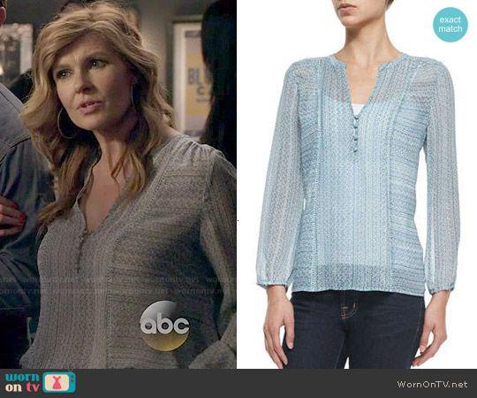 72af7bccc35d7d Rayna s blue printed blouse on Nashville. Outfit Details  http   wornontv.