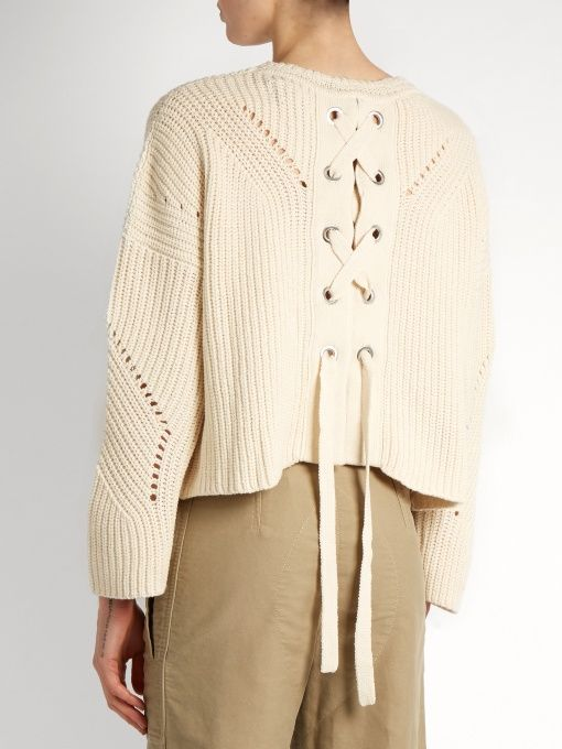 Isabel Marant Grifin lace-up back cotton-blend sweater | Outfits ...