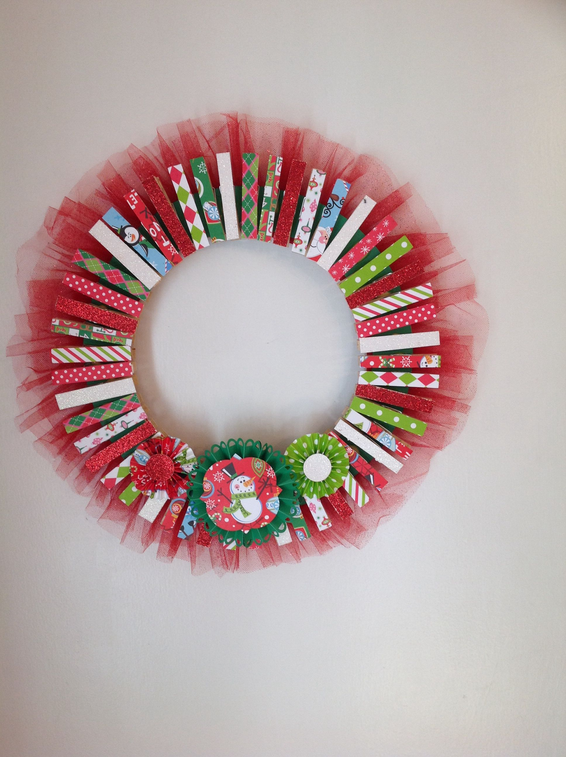 A Clothespin Wreath That Doubles As A Card Holder. Made From Paper Scraps. Christmas  DiyChristmas ...