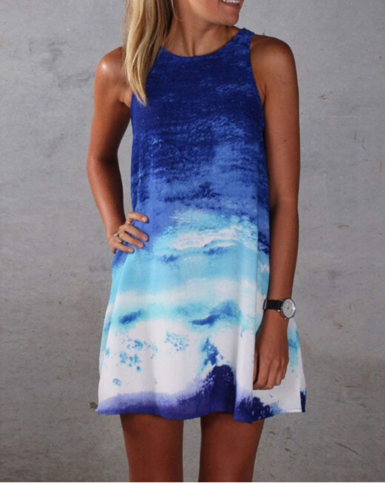 8022a911f3a Ombre Sleeveless Loose Mini Dress