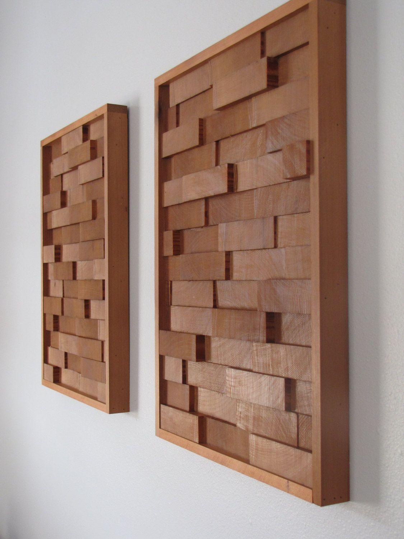 modern redwood 3d wood block minimalist wall art - set of two