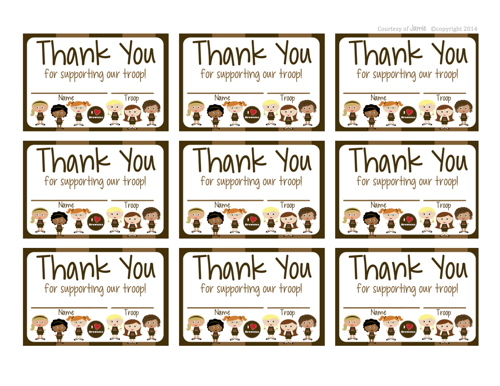 Girl Scouts Brownies Free Printable Thank You Cards Girl Scouts