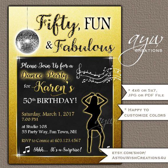 50th birthday invitation dance party by asyouwishcreations4u 50th