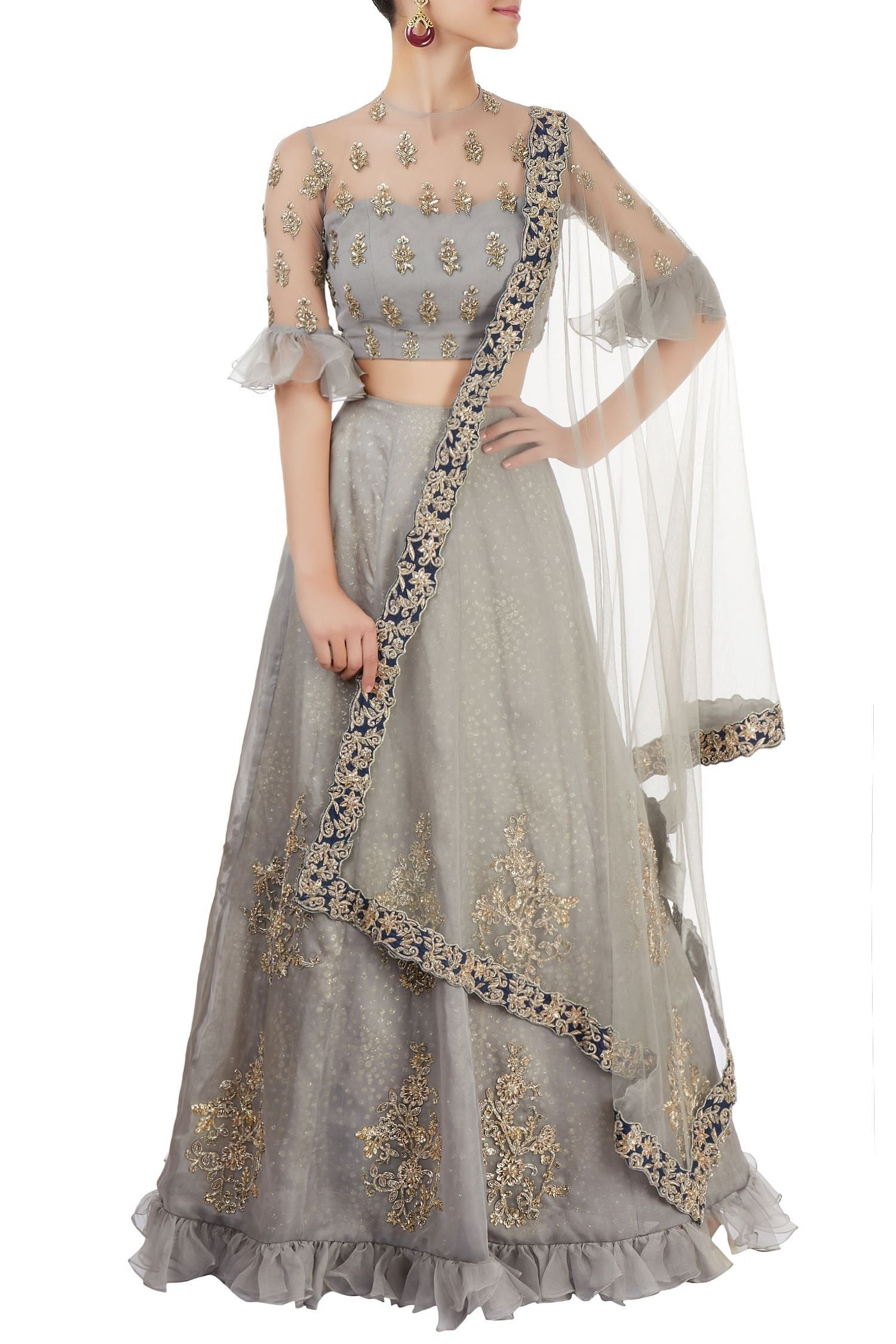 Shop Reeti Arneja Grey Lehenga Set With Embroidery Latest Collection Available At Aza Fashions Indian Designer Outfits Lehenga Designs Blouse Design Models