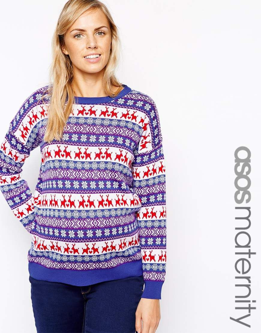 asos maternity christmas jumper in pattern - Maternity Christmas Sweater
