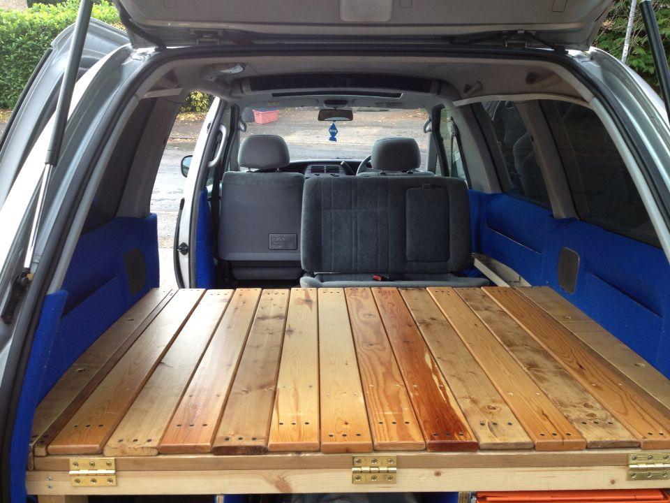 DIY Toyota Previa Camper slide out slated bed Toyota