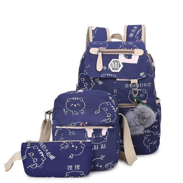 586060b78c Usb Charging Canvas Backpack 3 Pcs Set Women School Backpacks Schoolbag For  Teenagers Man Student Book Bag Boys Satchel