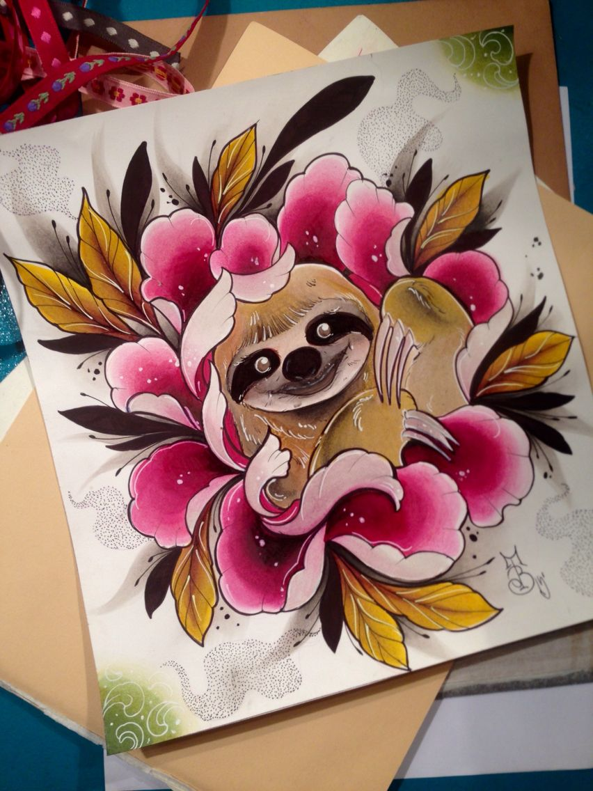 Sloth and peony illustration Biancaneve tattooer Sloth