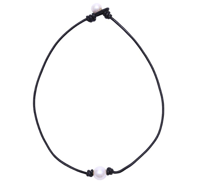 Women Genuine Pearl Necklace Leather Cord Choker Jewelry Handmade New