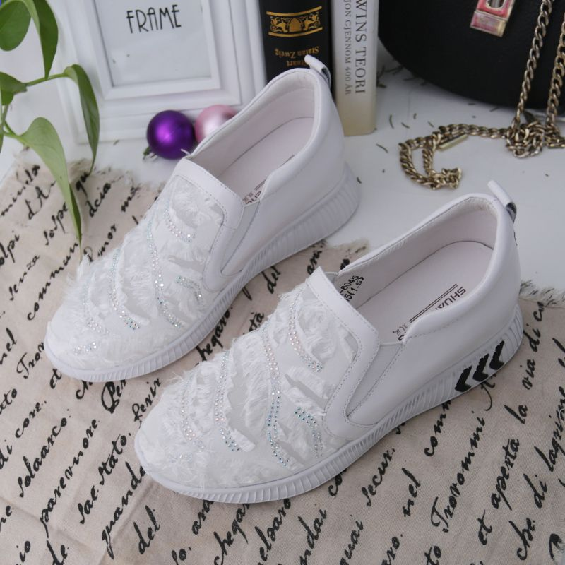 Shuangfeng 2018 Wiosna Kobiet Przypadkowi Buty Kobieta Prawdziwej Skory Kliny Buty Slip On Kobiety Sneakers Tenis Feminin Wedding Sneaker Wedding Shoe Sneakers