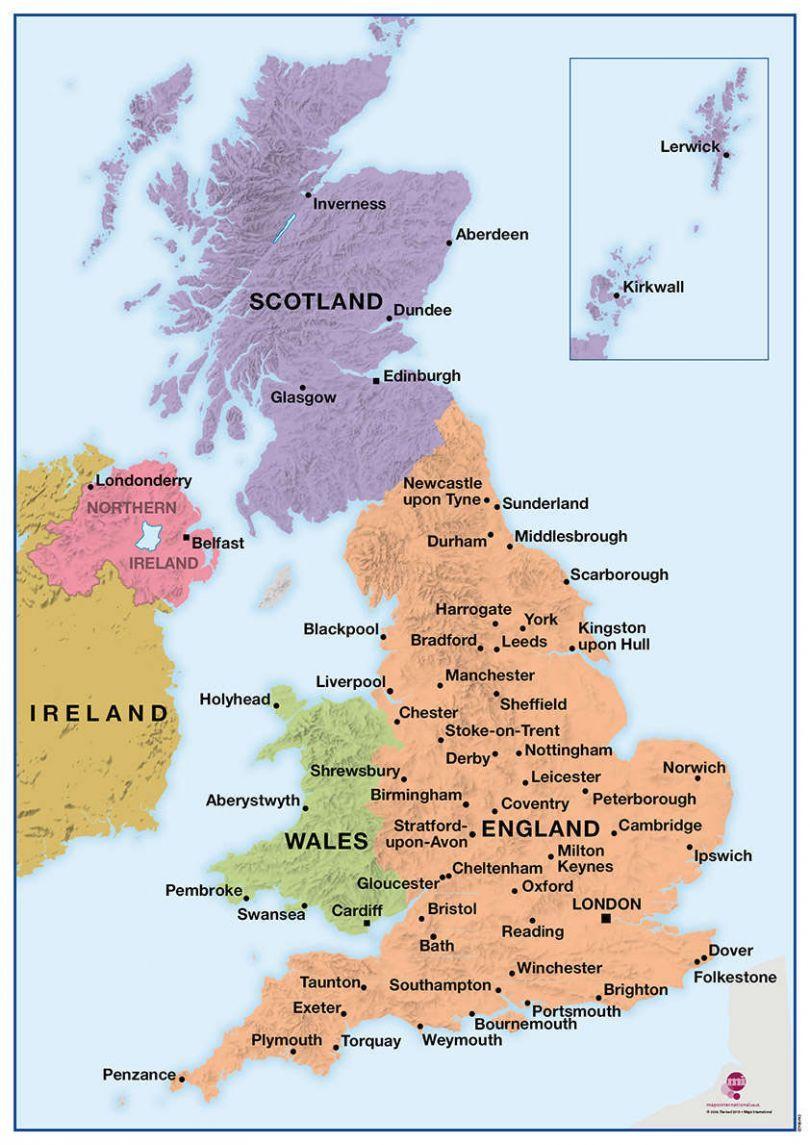 Show Map Of England.Deskmap Uk Political A3 Pack Of Ten Deskmap Stratford