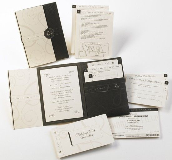 a complete wedding invitation package for a destination wedding