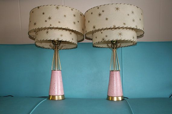 1950s vintage pink atomic lamp set with by dollyvalentine on etsy