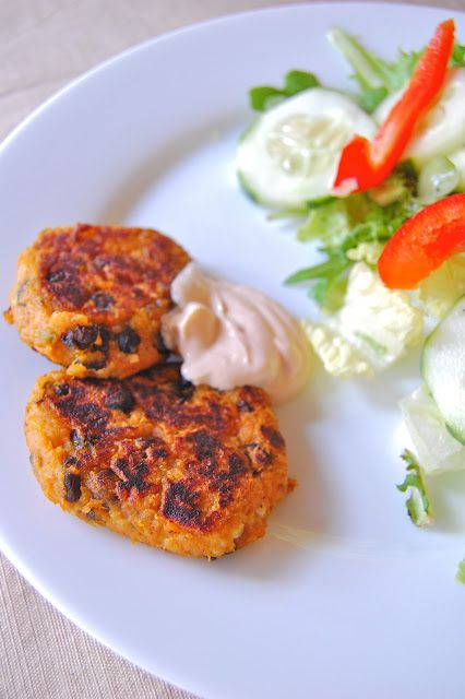 Sweet Potato & Black Bean Patties with Chipotle Yogurt Sauce