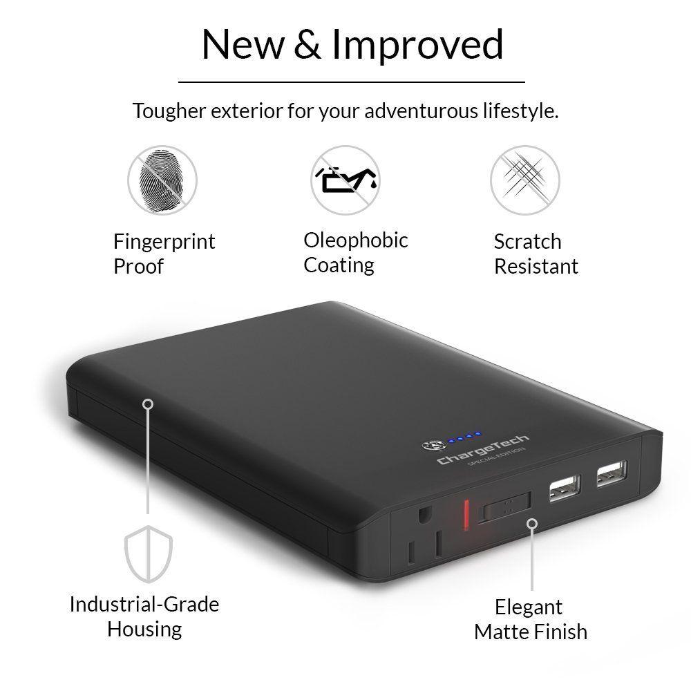 Amazon Com Chargetech 27 000mah Portable Ac Battery Pack W X2f Ac Plug Outlet Amp Usb Ports Univers Power Bank Charger Portable Battery Pack Powerbank