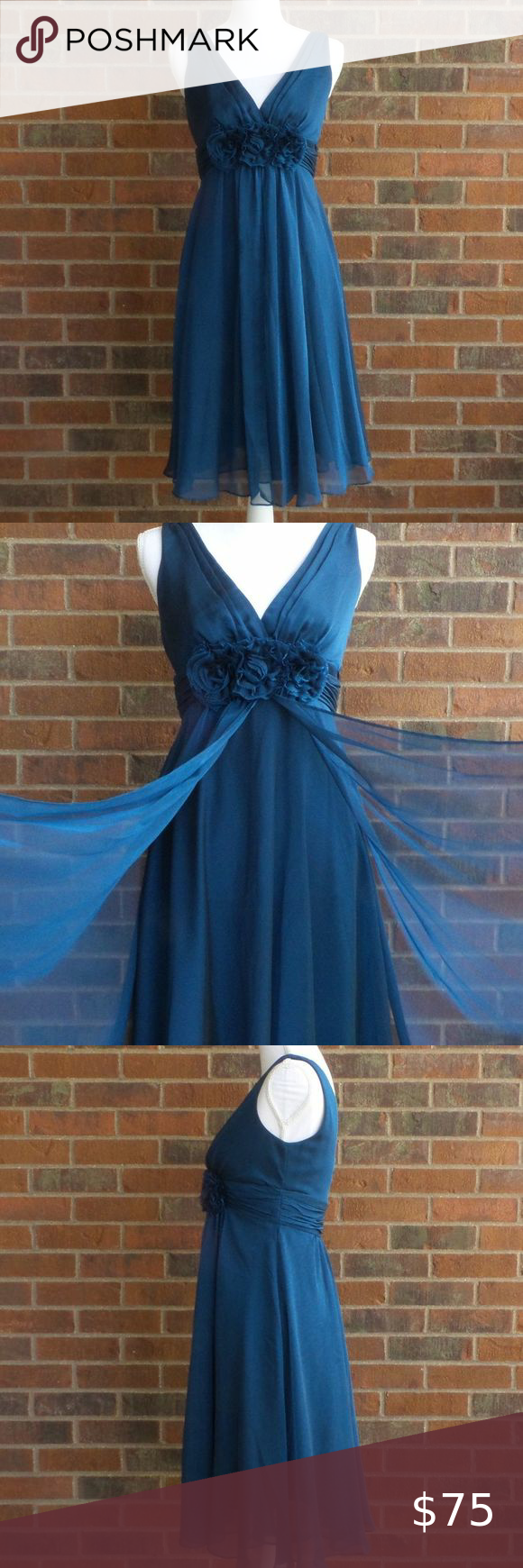 Adrianna Papell Occasions Chiffon Blue Short Dress ADRIANNA PAPELL Navy Blue Pleated Short Dress includes: Flower detail Chiffon style Special occasion collection Could be used as a bridesmaid dress Size 4 Excellent condition! Adrianna Papell Dresses Wedding